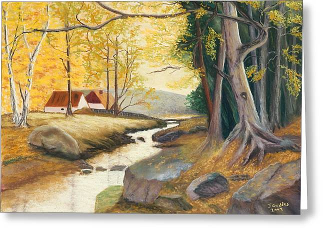 Reds Of Autumn Pastels Greeting Cards - Autumn Brook Greeting Card by James Geddes