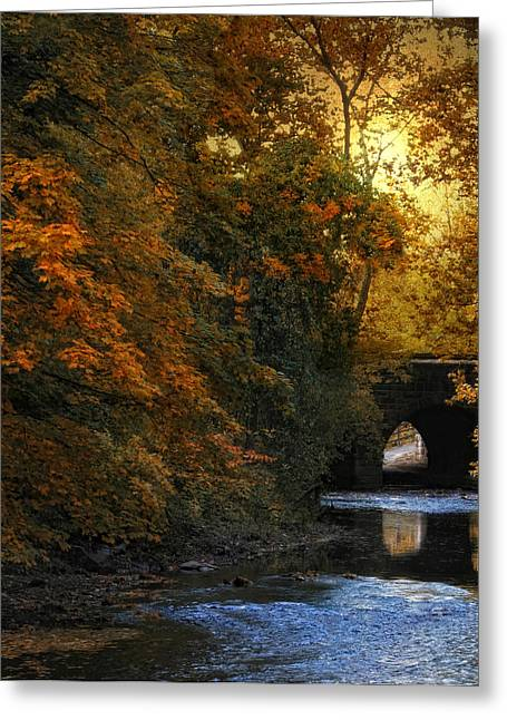 Stream Digital Art Greeting Cards - Autumn Country Bridge Greeting Card by Jessica Jenney