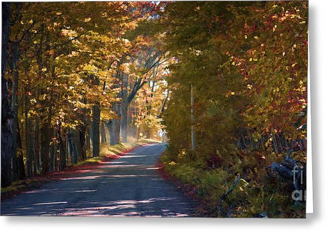 Rural Landscapes Greeting Cards - Autumn Country Road - oil Greeting Card by Edward Fielding