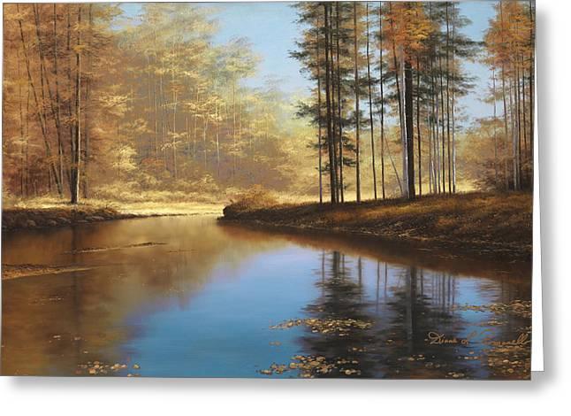 Autumn Scene Greeting Cards - Autumn Creek Greeting Card by Diane Romanello