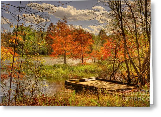 Reflections Of Trees In River Greeting Cards - Autumn Creek Pier Greeting Card by Cheryl Davis
