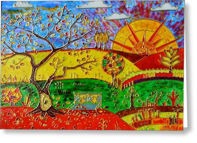 Original Abstract Art Glass Art Greeting Cards - Autumn  Greeting Card by Danuta Duminica