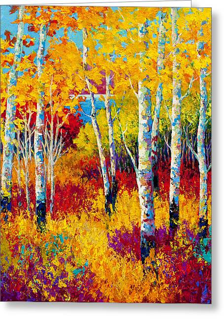 Birch Trees Greeting Cards - Autumn Dreams Greeting Card by Marion Rose