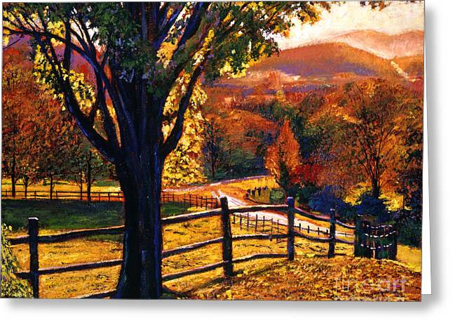 Country Road. Rural Greeting Cards - Autumn Fire Greeting Card by David Lloyd Glover