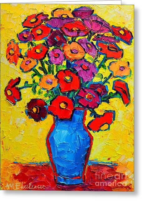 Autumn Flowers Zinnias Original Oil Painting Greeting Card by Ana Maria Edulescu