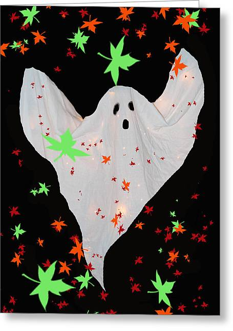 """haunted House"" Mixed Media Greeting Cards - Autumn Ghost Greeting Card by Debra     Vatalaro"