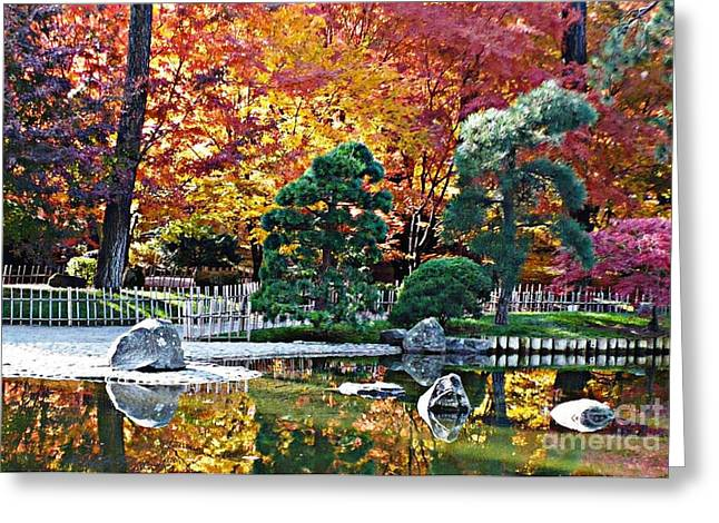 Pond In Park Greeting Cards - Autumn Glow in Manito Park Greeting Card by Carol Groenen
