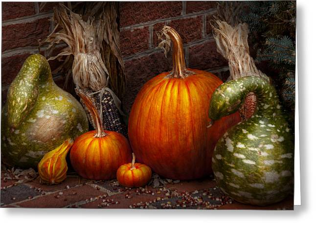 Autumn Scenes Greeting Cards - Autumn - Gourd - Family get together Greeting Card by Mike Savad
