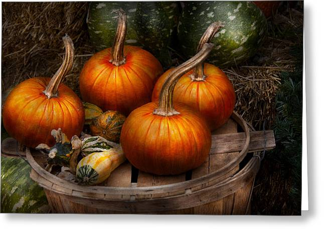 Autumn - Gourd - Pumpkins And Some Other Things  Greeting Card by Mike Savad