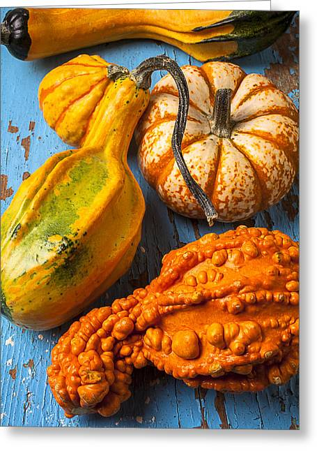 Yellow Autumn Greeting Cards - Autumn gourds still life Greeting Card by Garry Gay