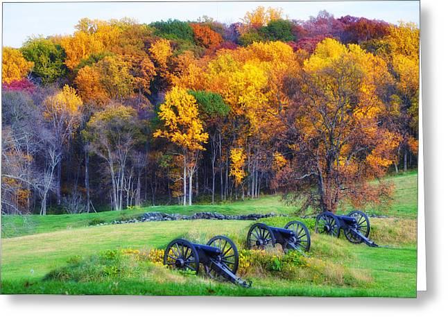 Artillery Gun Greeting Cards - Autumn Guns Greeting Card by Bill Cannon