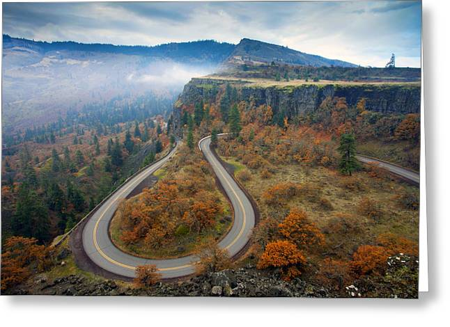 Plateaus Greeting Cards - Autumn Hairpin Turn Greeting Card by Mike  Dawson