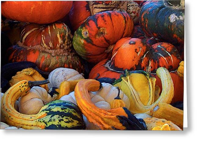 Harvest Art Greeting Cards - Autumn Harvest Greeting Card by Carol Cavalaris