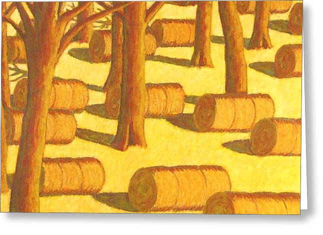 Haybales Pastels Greeting Cards - Autumn Haybales Greeting Card by John  Turner