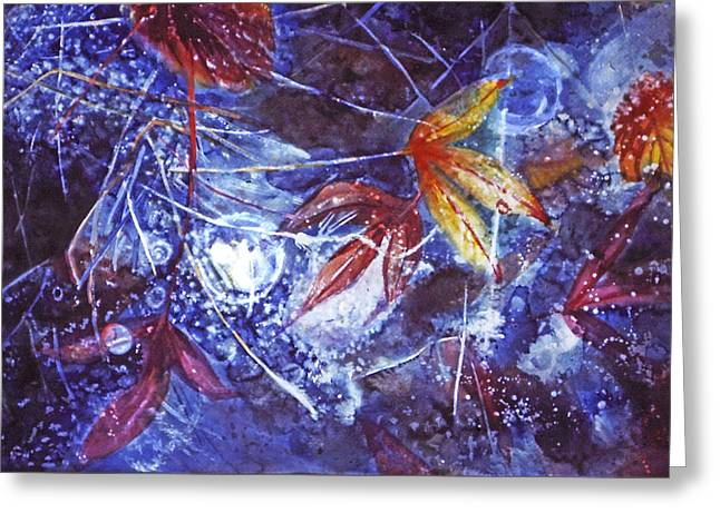 Catherine Foster Mixed Media Greeting Cards - Autumn Ice Greeting Card by Catherine Foster