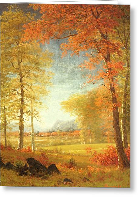 Bierstadt Greeting Cards - Autumn in America Greeting Card by Albert Bierstadt