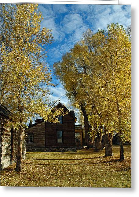 Wooden Building Greeting Cards - Autumn in Montanas Nevada City Greeting Card by Bruce Gourley