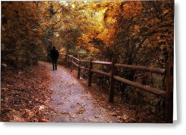 Golden Brown Greeting Cards - Autumn in Stride Greeting Card by Jessica Jenney