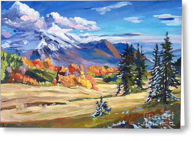 Autumn Landscape Paintings Greeting Cards - Autumn In The Foothills Greeting Card by David Lloyd Glover