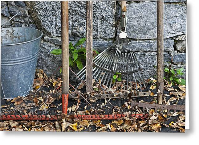 Garden Tools Greeting Cards - Autumn in the Garden Greeting Card by Joana Kruse