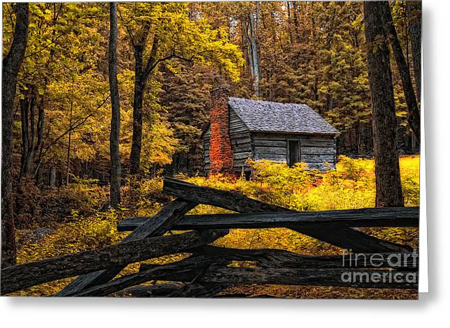 Mountain Cabin Greeting Cards - Autumn in the Smokies Greeting Card by Gina Cormier