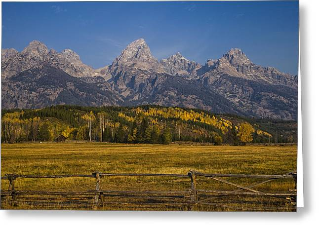 Mountain Cabin Greeting Cards - Autumn in the Tetons Greeting Card by Andrew Soundarajan