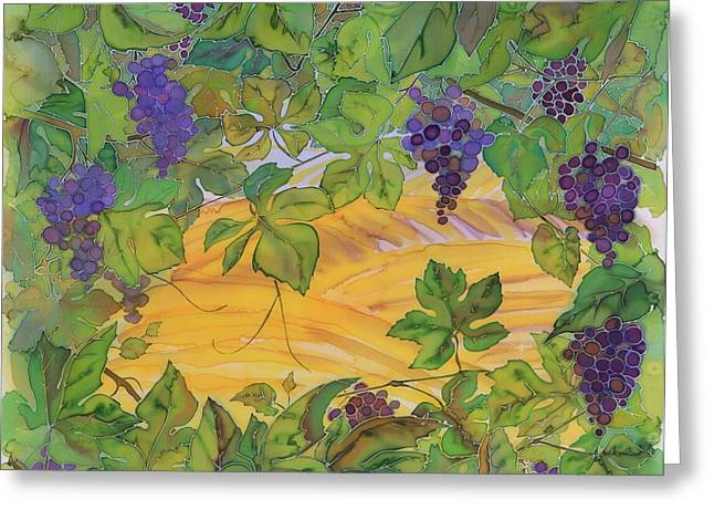 Grape Vine Tapestries - Textiles Greeting Cards - Autumn In Wine Country Greeting Card by Carolyn Doe