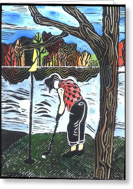 Lino Greeting Cards - Autumn  Greeting Card by Jane Croteau