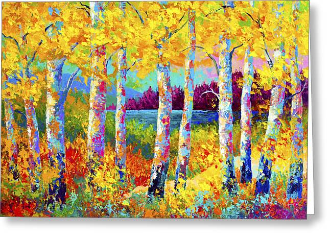 Birch Trees Greeting Cards - Autumn Jewels Greeting Card by Marion Rose