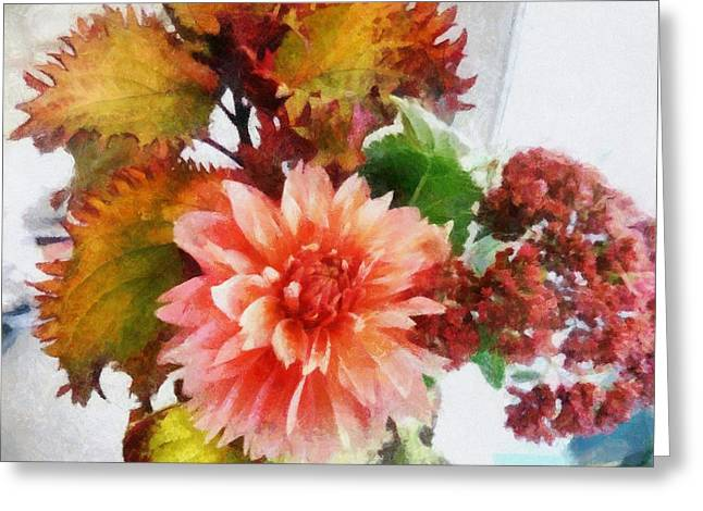 Burgundy Digital Art Greeting Cards - Autumn Joy Greeting Card by Michelle Calkins