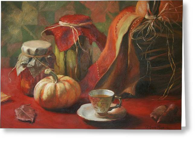 Teacup Greeting Cards - Autumn Joys Greeting Card by Anna Bain