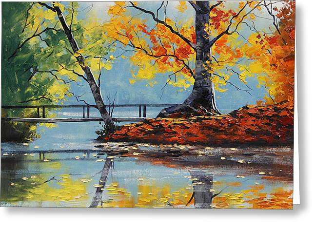 Fall Trees Greeting Cards - Autumn Lake Greeting Card by Graham Gercken