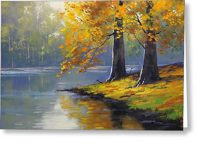Fall Trees Paintings Greeting Cards - Autumn Lake Print Greeting Card by Graham Gercken
