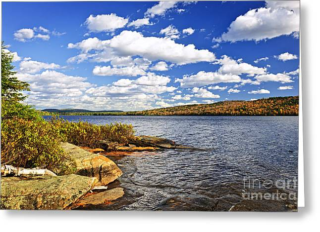 Two Rivers Greeting Cards - Autumn lake shore Greeting Card by Elena Elisseeva