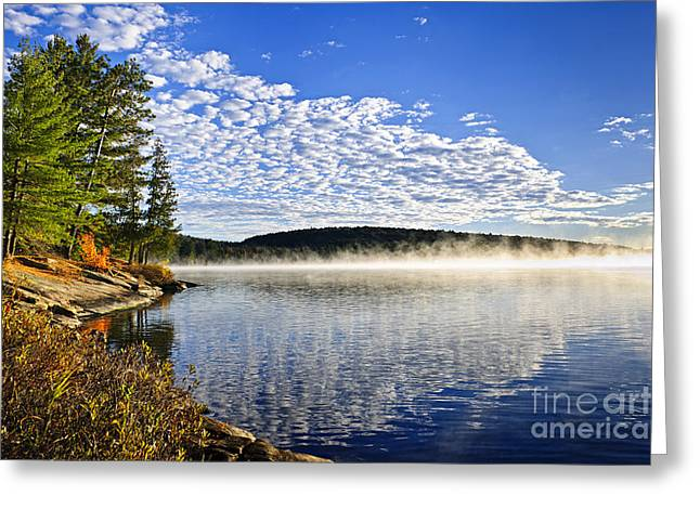 Two Rivers Greeting Cards - Autumn lake shore with fog Greeting Card by Elena Elisseeva