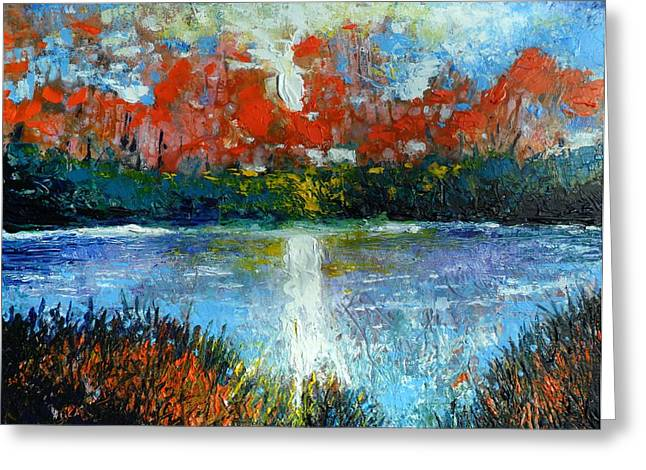 Pallet Knife Greeting Cards - Autumn Lake Greeting Card by Skye Taylor