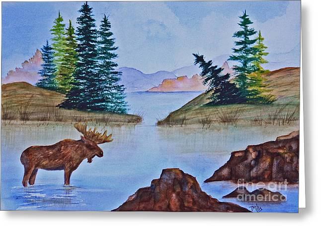 Terri Waters Paintings Greeting Cards - Autumn Lake Greeting Card by Terri Mills