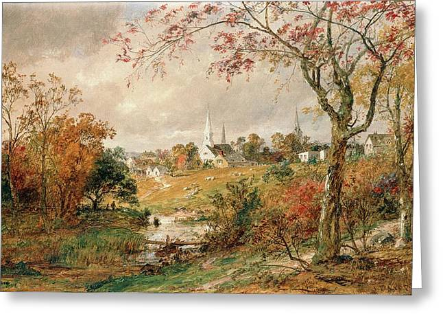 New England Autumn Greeting Cards - Autumn Landscape Greeting Card by Jasper Francis Cropsey