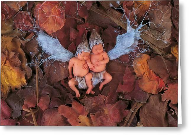 Fairies Greeting Cards - Autumn Leaf Fairies Greeting Card by Anne Geddes