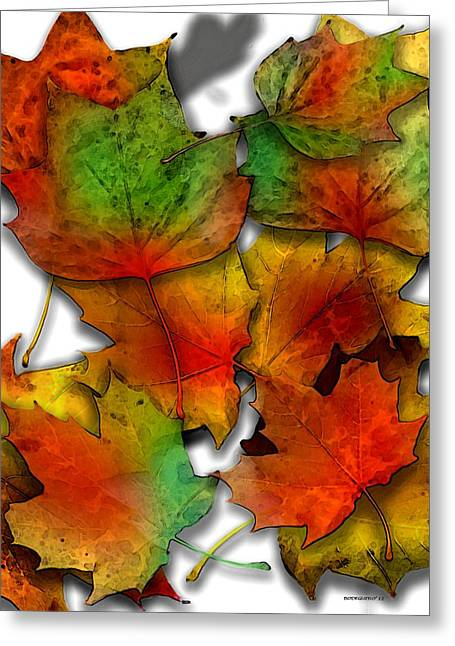 Effect Greeting Cards - Autumn Leaf Art Greeting Card by Mario  Perez