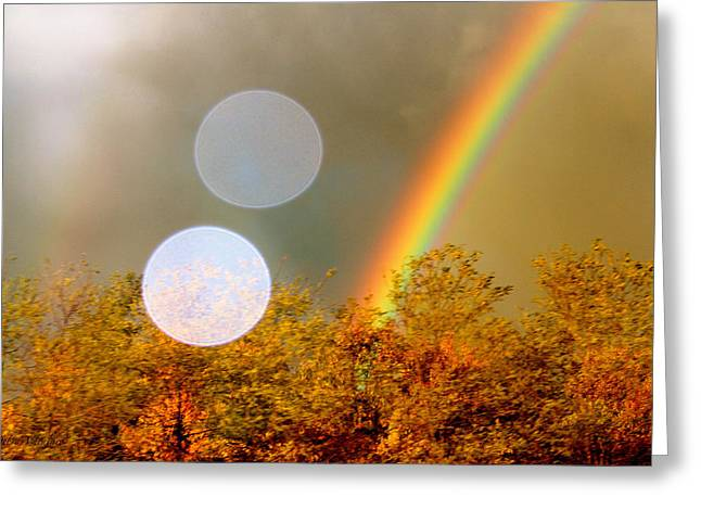 Lens Mixed Media Greeting Cards - Autumn Leaf Rainbow Greeting Card by Debra     Vatalaro