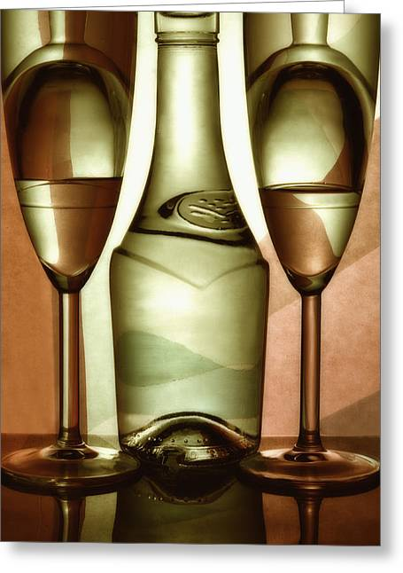 Wine-bottle Glass Greeting Cards - Wine-glasses  with wine Greeting Card by   larisa Fedotova