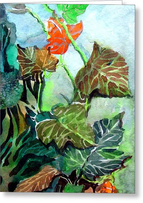Autumn Art Drawings Greeting Cards - Autumn Leaves Greeting Card by Mindy Newman