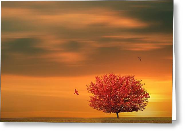 Red Art Greeting Cards - Autumn Greeting Card by Lourry Legarde