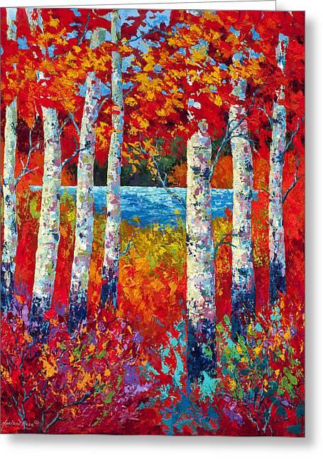 Birch Lake Greeting Cards - Autumn Lyrics Greeting Card by Marion Rose