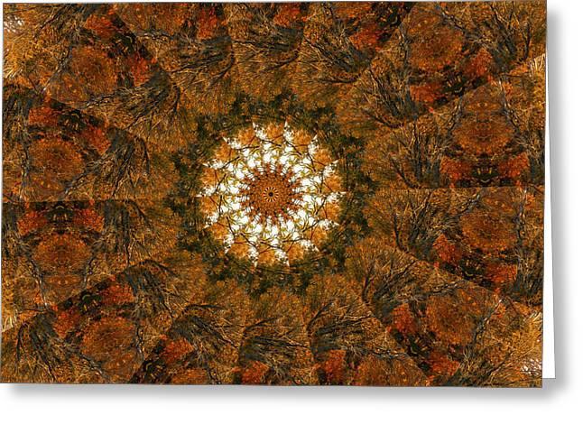 Autumn Mandala Greeting Cards - Autumn Mandala 4 Greeting Card by Rhonda Barrett