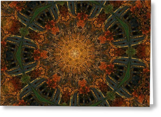 Autumn Mandala Greeting Cards - Autumn Mandala 6 Greeting Card by Rhonda Barrett