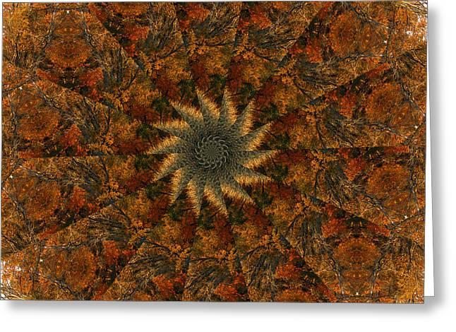 Autumn Mandala Greeting Cards - Autumn Mandala 7 Greeting Card by Rhonda Barrett