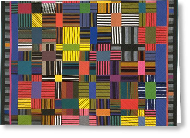 Abstract Quilt Tapestries - Textiles Greeting Cards - Autumn Greeting Card by Marilyn Henrion