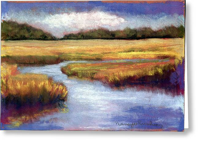 Olive Green Pastels Greeting Cards - Autumn Marsh Greeting Card by Nancy w Rushing